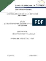 ENSAYO LA GESTIÓN ENFERMERA, EL LIDERAZGO Y LA GESTIÓN DE LOS CUIDADOS