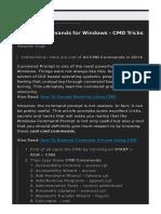 All CMD Commands for Windows - CMD Tricks 2016