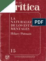 Putnam, H8ilary - Cuadernos de Crítica. La Naturaleza de Los Estados Mentales