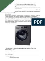 Machine à Laver SAMSUNG WW90K6410QX Eco Bubble 9Kg Inox