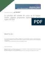 BOHDZIEWICZ, O. La Perdida Del Sistema de Casos en La Lengua Latina