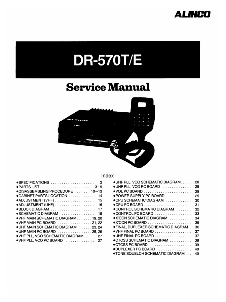 Alinco Dr 605 Mic Wiring Trusted Diagrams 570 Service Manual