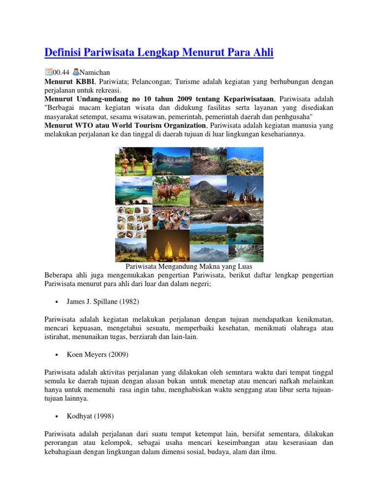Definisi Pariwisata Lengkap Menurut Para Ahli