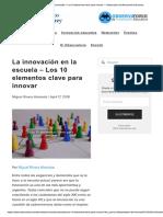 10 Claves Para Innovar. Observatorio de Innovación (2018)