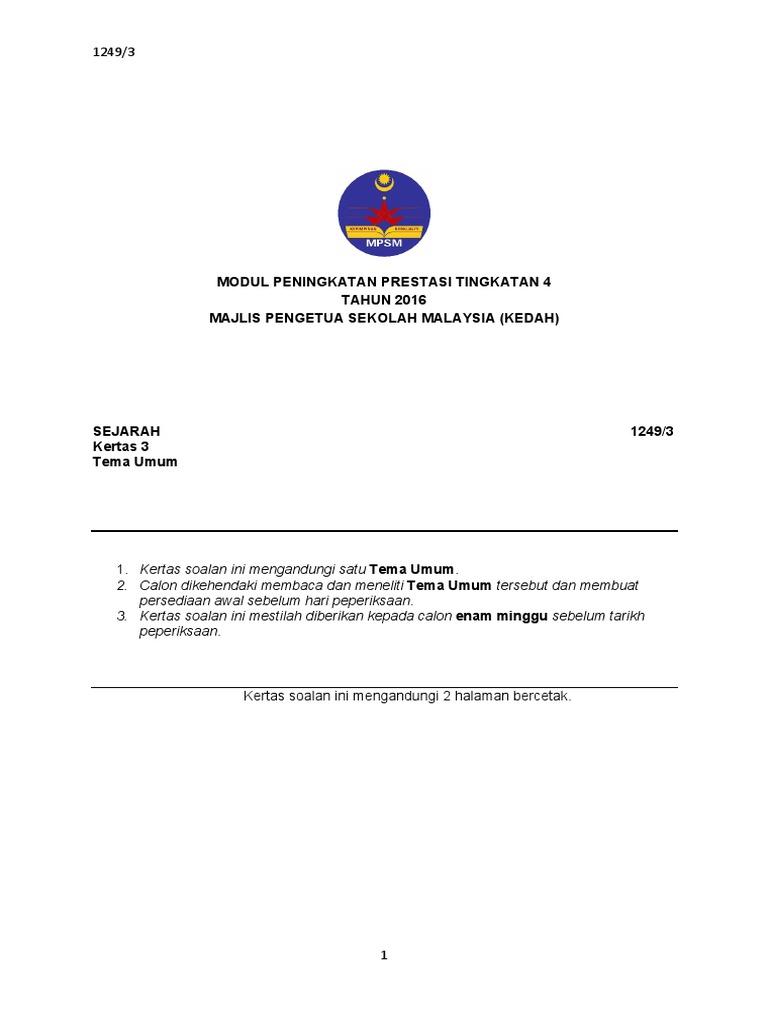 Modul Peningkatan Prestasi Tingkatan 4 Tahun 2016 Majlis Pengetua Sekolah Malaysia Kedah