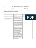 debate worksheet - religion pro