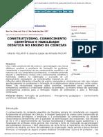 Construtivismo, Conhecimento Científico e Habilidade Didática No Ensino de Ciências