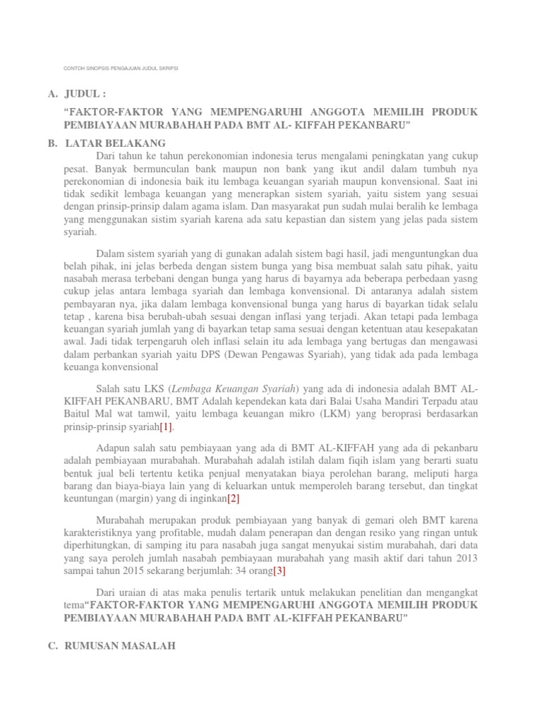 Contoh Proposal Pengajuan Judul Skripsi Pejuang Skripsi