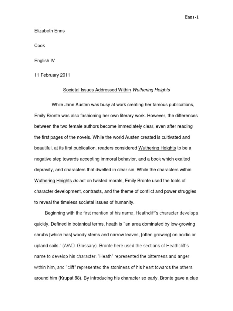 Wuthering heights research paper