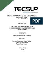 Actualizacion de Lista de Consumibles SF modelo de informe