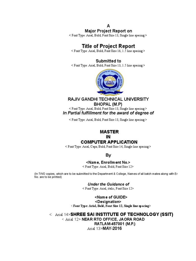 MCA Major Project Format Final1 | Arial | Typefaces