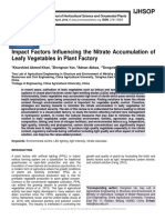 Impact Factors Influencing the Nitrate Accumulation of Leafy Vegetables in Plant Factory
