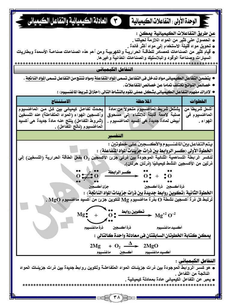 المعادلة الكيميائية والتفاعل الكيميائى 233سؤال