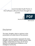 2015-06 Post - Suggested-Recommended Audit Points in the Software Lifecycle (From Thought to Sunset)