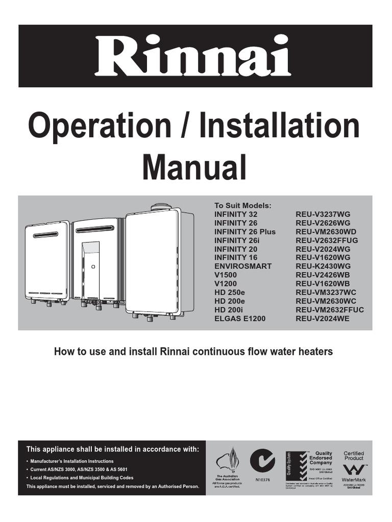 rinnai infinity oporation manual water heating tap valve rh scribd com Infinity 20 Heat Pump rinnai infinity 20 instruction manual