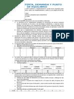 Taller de La Demanda,Oferta y Punto de Equilibrio2013
