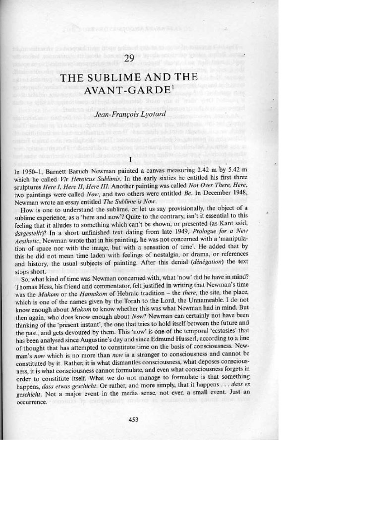 Lyotard The Sublime And The Avant Garde