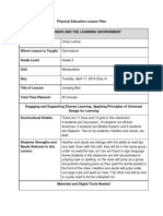 physical education interdisciplinary lesson plan
