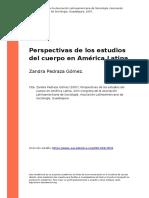 Zandra Pedraza Gomez (2007). Perspectivas de Los Estudios Del Cuerpo en America Latina