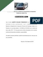 Certificado de Transporte