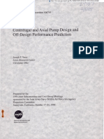 Centrifuga and Axial Pump Design and Off-Design Performance Prediction