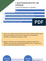 Deteccion y quimioprevencion de cáncer de próstata. Tratamiento.