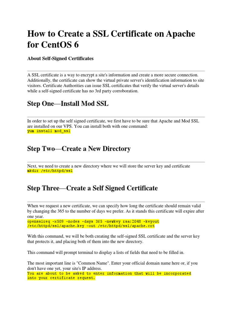 How To Create A Ssl Certificate On Apache For Centos 6 Public Key