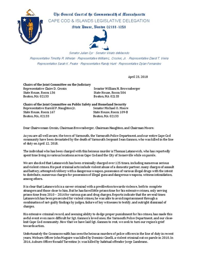 Cape Cod delegation sends letter to Judiciary and Public