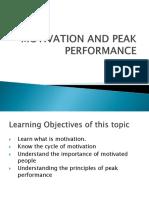 Motivation and Peak Performance