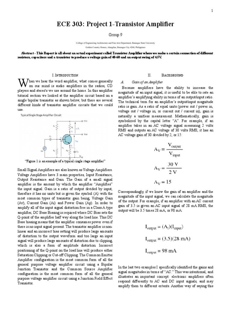 transistor-write-up doc | Amplifier | Distortion
