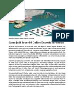 Game Judi Super10 Online Deposit Termurah
