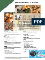 Menu de La Cuisine de Meme Moniq 14 Au 20 Avril
