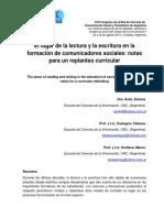 Ávila, X, Orellana, M, Castagno, F (2015) El Lugar de La Lectura y La Escritura en La Formación de Comunicadores Sociales, Notas Para Un Replanteo Curricular