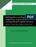 Bibliografia Cronologica de La Linguistica La Grammatica y La Lexicografia Del Espanol Bicres II 1601 1700 Studies in the History of the Language Sciences
