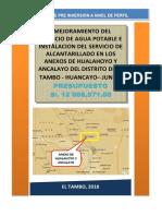 Mejoramiento Del Servicio de Agua Potable e Instalacion Del Servicio de Alcantarillado en Los Anexos de Hualahoyo y Ancalayo Del Distrito de El Tambo - Huancayo– Junin.1