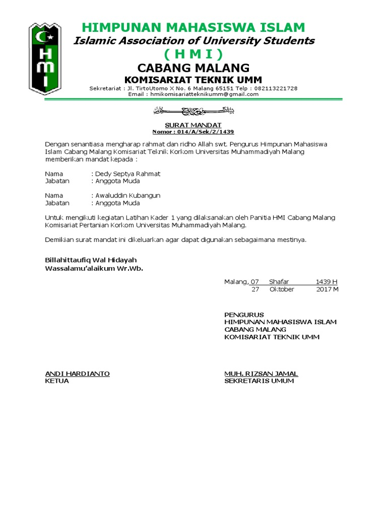 Surat Mandat Hmi