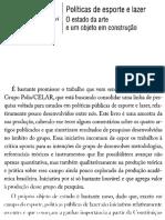 Políticas de Esporte e Lazer- o Estado Da Arte e Um Objeto Em Construção. Telma Menicucci