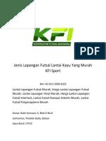 Jenis Lapangan Futsal Lantai Kayu Yang Murah KFI Sport