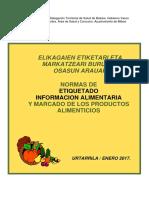 Normas de Etiquetado Alimentos 2017