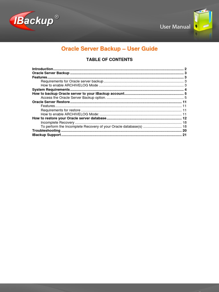 IBWIN Oracle UserGuide | Oracle Database (15 views)