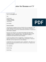 Sample Letter_Covering Letter for Resume or CV