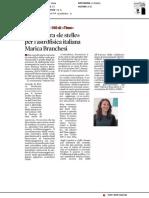 """Un posto tra """"le stelle"""" per l'astrofisica italiana Marica Branchesi - Il Tempo del 20 aprile 2018"""