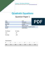 254.1 Quadratic Equations-cie Igcse Maths 0580-Ext Theory-qp