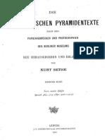 Sethe Die Altaegyptischen Pyramidentexte Vol 2