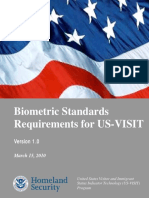 Usvisit Biometric Standards