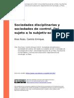 Rios Rozo, Camilo Enrique (2010). Sociedades Disciplinarias y Sociedades de Control. Del Sujeto a La Subjetiv-Accion
