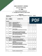 B.TECH TEXTILE TECHNOLOGY SYLLABUS SEM 2 TO 8