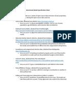 Benchmark Specification Sheet