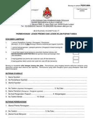 Borang Lesen Komposit Dbkl Pdf