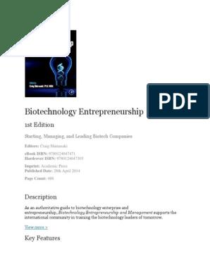 Biotechnology Entrepreneurship Book outline docx | Tech